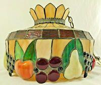"Antique/Vtg 17"" Multi-Color RAISED FRUIT Stained Glass Pendant Lamp Chandelier"