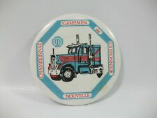 """Blue Transport Truck French 2.25"""" Vintage Pinback Pin Button"""