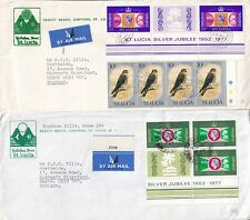 DD546 St Lucia 12 different stamped covers postcards mainly UK; 1973 - 2010