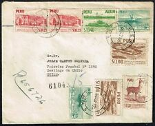 101 PERU TO CHILE REGISTERED AIR MAIL COVER 1953 LIMA - SANTIAGO