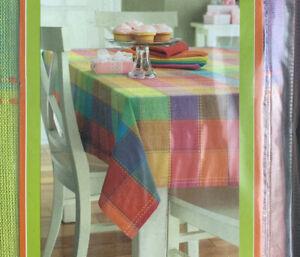 "Kohl's Home Studio Rainbow Plaid Tablecloth 60"" x 84"" Oblong 100% Cotton NEW"