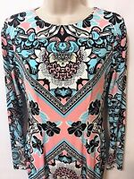 Maggy London Retro Midi Sheath Dress Mod Print Sz 2 Svelte Stretch Crepe Knit LS