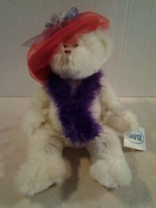 "GANZ Red Hat Society plush Ivory white colored ""RUBY"" 14"" bear - NWT"