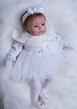 "Silicone Reborn Baby Girl doll 22"" lifelike soft vinyl Newborn Full Handmade NEW"