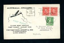 Australia - England 1938 Flying Boat First Flight Cover (A131)