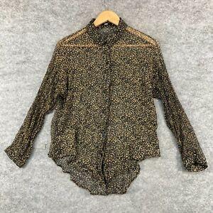 Sportsgirl Womens Blouse Top Size 8 Brown Leopard Print Long Sleeve Sheer 307.31