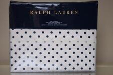 RALPH LAUREN MODERN GLAMOUR CHARLOTTE POLKA DOT KING FLAT SHEET - CREAM/NAVY