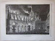 1875 MILANO ILLUMINAZIONE A BENGALA DUOMO xilografia Illustrazione Universale