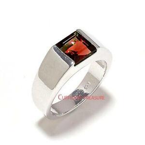 Natural Garnet Gemstone with 925 Sterling Silver Ring For Men's