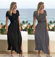 Womens Long Maxi Dress W/Side Slit & Pockets Beach Party Boho S M L XL