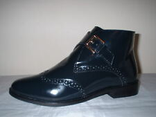 NAVY BLUE PATENT LEATHER BROGUE BUCKLE FASTEN  ANKLE BOOTS 5/38