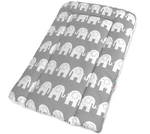 TODDLER CHANGING MAT 70x50cm SOFT NURSERY BABY 100% COTTON Elephants Grey