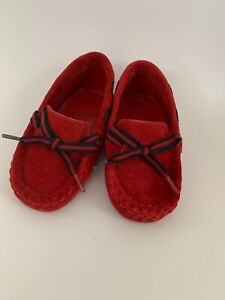 Gucci Baby Red Suede With Blue/Red Laces Pre-Walker Pram Shoes Moccasins Size 17