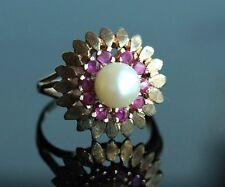 Stunning  Fine Vintage 14k Solid Gold Saltwater Pearl Ruby Floral Shape Ring