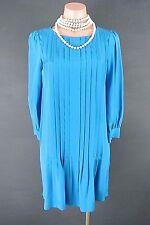 Kate Spade Arden Dress 00/XS Royal Blue Pleated Silk Mini Work 3/4 Sleeves*1008