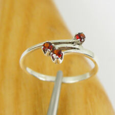 Bright Red Colour Natural Garnet Gemstone Claw Ring Genuine 925 Sterling Silver