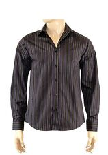 New Mens black/purple striped long sleeve shirt size large mens clothing