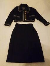 CHANEL Vintage Black Wool Cropped Jacket w/skirt, sz40,