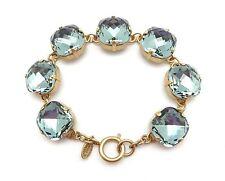 "CATHERINE POPESCO Indian Sapphire Blue 16mm Swarovski Crystal Gold Bracelet 7.5"""