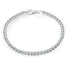 Men/Women Silver Plated Bracelet Unique 4mm Balls Jewelry Chain Bangle Fashion