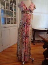 BOSTON PROPER leopard floral maxi dress NWT $149 women's size 6 halter tie