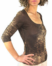 ROBERTO CAVALLI Tawny Umber Ripple Print Knit Top with Front Hook Closures, M