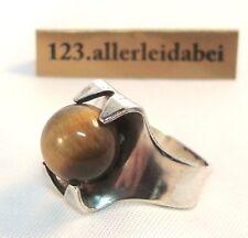 Kultaseppa Salovaara Ring 813 er Silber Tigerauge Finnland Modernist / AO 647