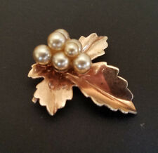 Vintage Sterling Silver Rose Gold Plate Leaf Faux Pearl Pendant Brooch Fall
