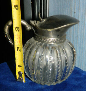 VINTAGE RIBBED Victorian Silver Plate Top Syrup Pitcher with Cut Glass Base