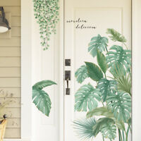 Tropical Leaves Green Plant Wall Stickers Vinyl Living Room Art Mural Decor