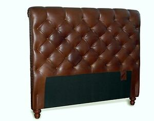 Queen Chesterfield Genuine Leather Headboard Button Diamond Tufting & Nail Heads