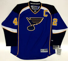 """DAVID BACKES ST. LOUIS BLUES REEBOK PREMIER HOME JERSEY WITH """"C"""" NEW"""