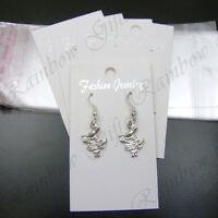 WHITE EARRING DISPLAY CARDS & SELF ADHESIVE BAGS HOOK STUD EARRINGS JEWELLERY