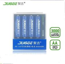 JUGEE 4pcs 3000mwh 1.5v AA LI-polymer rechargeable battery with USB charger