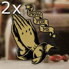"""2x pieces Praying Hands sticker decal pray for me hot rod aircooled gold 3.5"""""""