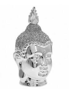 Leonardo Silver Sparkle Buddha Head Sculpture Figure Diamante Ornament Large