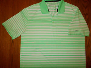 NIKE GOLF TOUR PERFORMANCE SHORT SLEEVE STRIPED POLO SHIRT MENS LARGE GOOD COND.