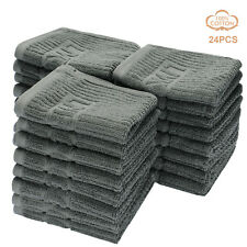 LIVINGbasics® 24pcs High quality 100% cotton washcloths 555gsm Towel set, Gray