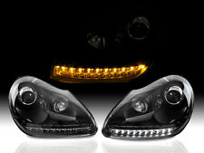 Switchback LED Black Projector Headlight Pair Fits 03-06 Porsche Cayenne 955 9PA