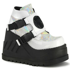 Demonia STOMP-15 White Women's Cosplay Cyber Goth Platform Wedge Ankle Boots