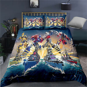 Single Double King Super King Bed Duvet Quilt Cover Set Transformers Optimus