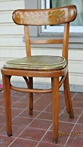 MID CENTURY MODERN DANISH VTG Thonet Bentwood Oak Cafe Chair Original Vinyl Seat
