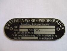Plaque Westfalia Attelage Hitch id-plaque 50 kg charge verticale S42