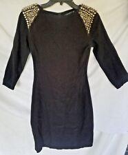 Zara Women's Dress Small Black Rhinestones Detail Fitted Cocktail 3/4 Sleeve  G7