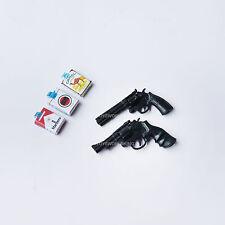 2 OF 1:6 Scale Revolver Pistols 3 Cigarette Packs Cash Miniature Model Toys
