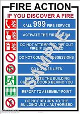 FIRE INSTRUCTIONS HEALTH AND  & SAFETY A3 LAMINATED POSTER WORKPLACE SHOP OFFICE