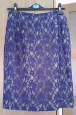 FRENCH CONNECTION ROYAL BLUE NUDE LACE MIDI  PARTY SKIRT  UK 10