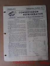 1939 PHILCO Conservador K KC KX Refrigerator Bulletin Installation Instructions