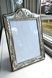 "BIG 9.5"" STERLING SILVER PICTURE FRAME RIBBONS BOWS FLORAL VINTAGE REPOUSSE"