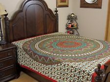 Green Brown Floral Elephant Cotton Bedding India Wall Tapestry Bed Sheet ~ Full